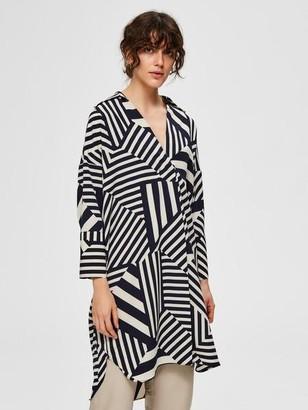 Selected Printed V Neck Midi Dress - 34 / Navy