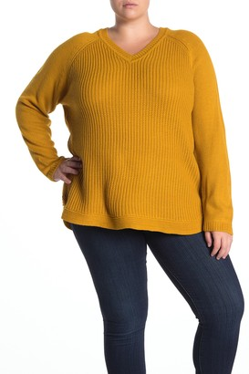 Rdi V-Neck Shirttail Hem Sweater (Plus Size)