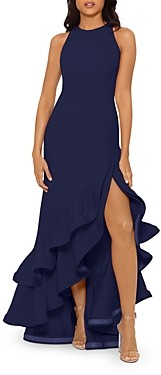 Aqua Ruffled Scuba Gown - 100% Exclusive