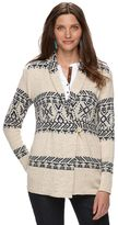 Chaps Women's Tribal Shawl-Collar Cardigan