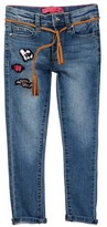 Betsey Johnson Heart Patch Skinny Jean with Braided Tassel Belt (Little Girls)