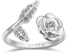 Unwritten Crystal Rose Flower Bypass Ring