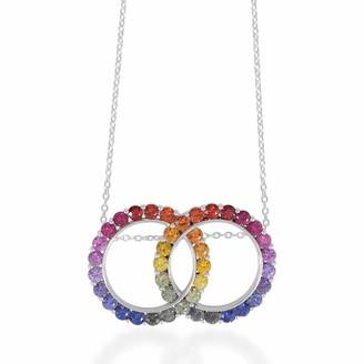 Rakam Jewellery Circular Rainbow Pendant In 9K White Gold
