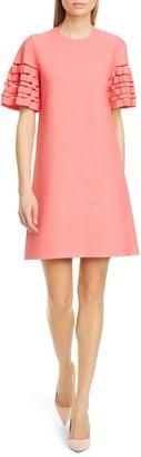 Lela Rose Pleated Sleeve Shift Minidress
