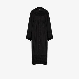 Simone Rocha Smock Cotton Maxi Shirt Dress