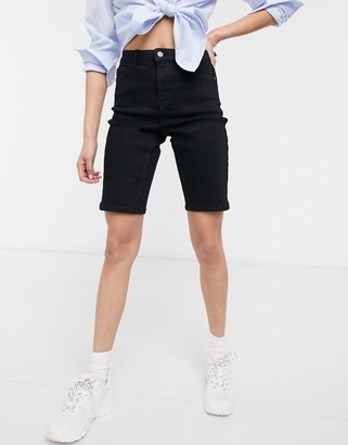 Pieces Amelia high waisted long line denim shorts