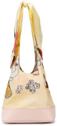 Lanvin Babar print twill bow bag