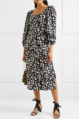 Mother of Pearl Net Sustain Poppy Faux Pearl-embellished Printed Lyocell Midi Dress - Black