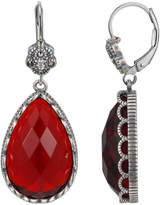 Swarovski Sterling Silver Glass, Crystal & Marcasite Teardrop Earrings - Made with Crystals