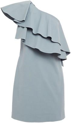 Lanvin One-shoulder Layered Cotton-blend Mini Dress