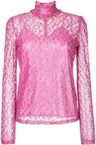 G.V.G.V. foiled lace frilled nigh neck top - women - Cotton/Nylon - 34