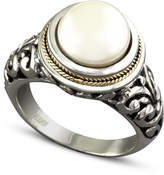 Effy Cultured Freshwater Pearl Scroll Sides Ring in Sterling Silver and 18k Gold