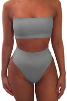 Pink Queen Women's Strapless No Pad High Waist Bikini Set Swimsuit L