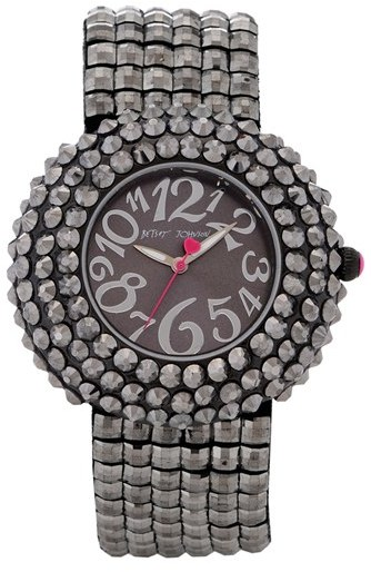 Betsey Johnson Crystal Encrusted Round Watch, 47mm