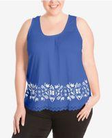 Eyeshadow Trendy Plus Size Crochet-Trim Tank Top