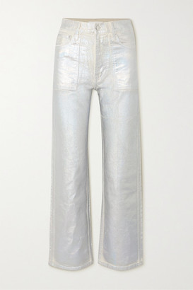 Helmut Lang Factory Metallic High-rise Flared Jeans - Silver