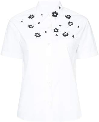 Jimi Roos applique flower short sleeve shirt