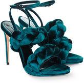 Marco De Vincenzo Peacock Velvet Plaited Strap Sandals