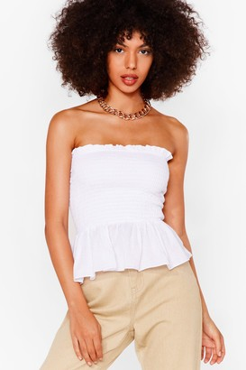 Nasty Gal Womens We Frill Wait for You Shirred Ruffle Top - White