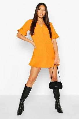 boohoo Woven V Neck Button Through Ruffle Shift Dress