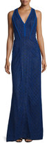 J. Mendel Sleeveless V-Neck Lace-Overlay Gown, Imperial Blue