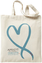 Apricot Cream & Teal Ovacome Large Ribbon Print Canvas Tote Bag