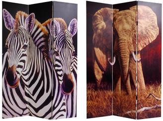 Oriental Furniture Handmade Elephant and Zebra Room Divider