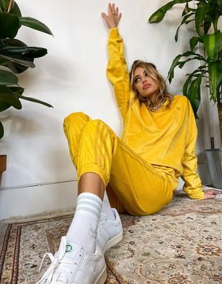 adidas 'Comfy Cords' velvet corduroy sweatshirt in mustard