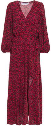IRO Leopard-print Woven Midi Wrap Dress