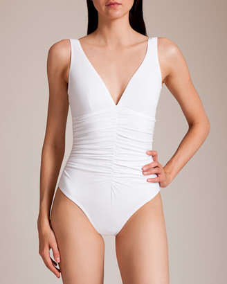 Karla Colletto Basic Ruched V-Neck Swimsuit