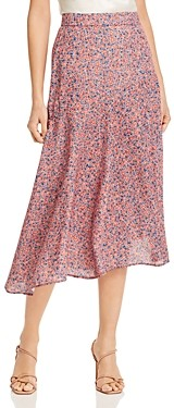 Rebecca Minkoff Reiana Asymmetric Floral-Print Midi Skirt