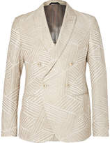 Giorgio Armani Cream Ginza Double-breasted Jacquard Blazer