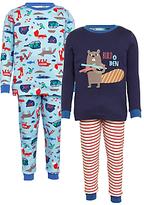 John Lewis Children's Beaver Pyjamas, Pack of 2, Multi