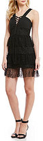 Gianni Bini Mary Lace Up Tiered Lace Dress
