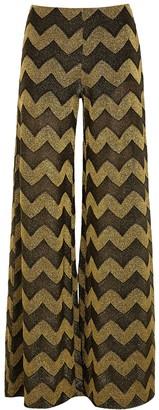 M Missoni Zigzag Wide-leg Metallic-knit Trousers