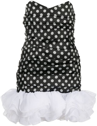 Giuseppe di Morabito Polka-Dot Strapless Mini Dress