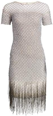 Pamella Roland Sequin Fringe Hem Sheath Dress