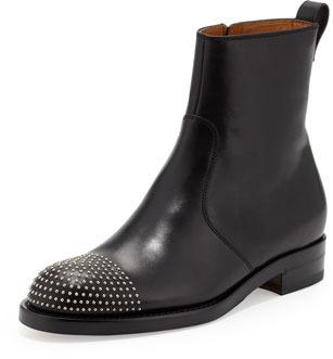 Gucci Flat Stud-Toe Bootie, Black