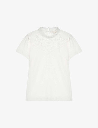 Maje Lace-trim cotton and linen-blend T-shirt