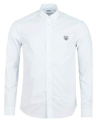 Kenzo Tiger Crest Casual Fit Twill Shirt Colour: WHITE, Size: SMALL