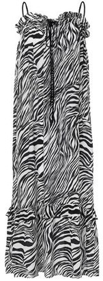 McQ Ruffled Zebra-print Silk Crepe De Chine Midi Dress