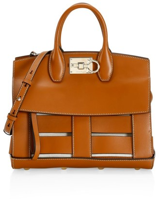 Salvatore Ferragamo Small Studio Cage Leather Top Handle Bag