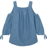 Madewell Cold-shoulder Linen And Cotton-blend Chambray Top - Blue
