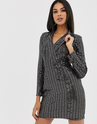 Lipsy sequin long sleeve mini dress-Black