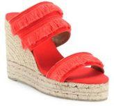 Castaner Basha Feathered Canvas Espadrille Wedge Sandals