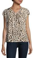 Calvin Klein Animal Printed Short Sleeve Top