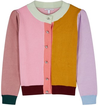 Olivia Rubin Dee Colour-blocked Stretch-knit Cardigan