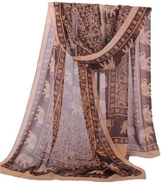 Happy Star 160 50cm Indian Style Elephants Print X197 Fashion Ladies Scarves Chiffon Scarf Womens Shawls (Black Scarf and Light Coffee Border)