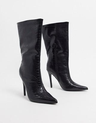 Public Desire Estelle pull on boots in black croc
