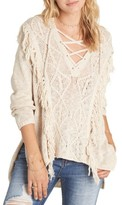 Billabong Women's Beach Nights Lace-Up Fringe Knit Sweater